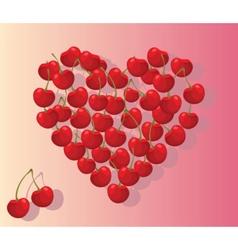 Love heart summer cherries vector image