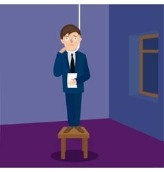 Man man going to hang himself cartoon vector