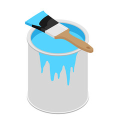 Metal paint can with blue paint and paintbrush vector