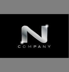 N silver metal letter company design logo vector