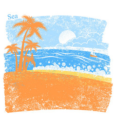 nature tropical sea background with palm island vector image