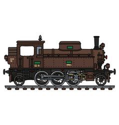 Old brown tank engine steam locomotive vector