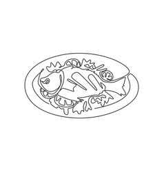 one continuous line drawing fresh delicious baked vector image