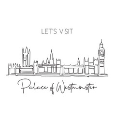 one single line drawing house parliament vector image