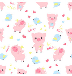 pattern with pigs vector image