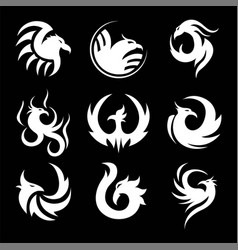 Phoenix swirly silhouettes small tattoo samples vector