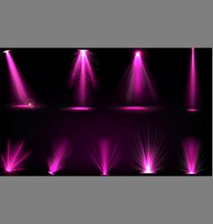 Pink light beams from spotlights and floor vector