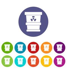 plastic office waste bin icons set flat vector image