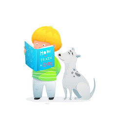 reading a book baboy with puppy about how to vector image