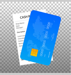 Receipt and credit card icon in a flat style vector