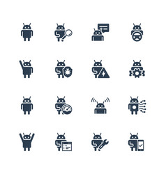 Robot or bot related icon set vector