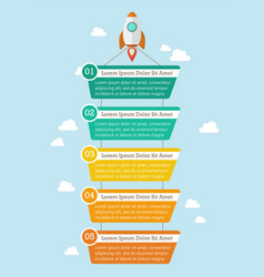 rocket with banner infographic vector image