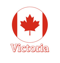 round button icon national flag canada with vector image