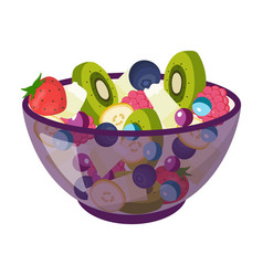 Salad from various kinds of fruit fruit single vector