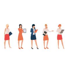 Set confident ladies holding presentations vector
