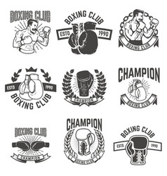 Set of boxing club labels design elements for vector