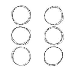 Set of hand drawn circles vector