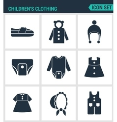 Set of modern icons Children s clothing vector