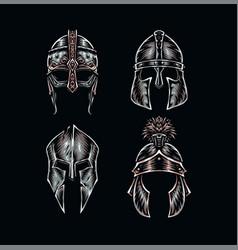 Set warrior helmets vector