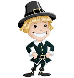 settler boy for thanksgiving vector image