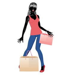 Silhouette of a shopping girl in casual wear vector