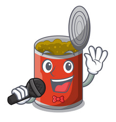 Singing canned food on the table cartoon vector