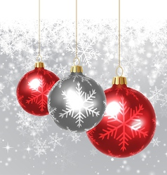 Snow Background with Christmas Balls vector image