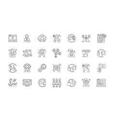 Social media promotion pixel perfect linear icons vector