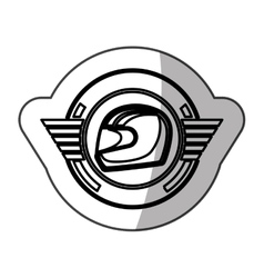 sticker helmet in monochrome with half shaded vector image