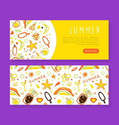 summer landing page template holiday symbols vector image