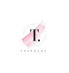 T letter logo with pastel watercolor aquarella vector
