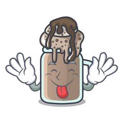 Tongue out milkshake mascot cartoon style vector