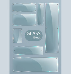 transparent glass plates set square shape vector image