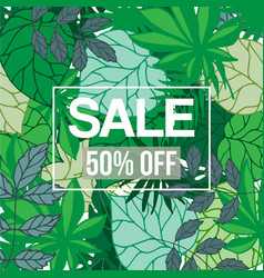 tropical jungle foliage with sale text vector image