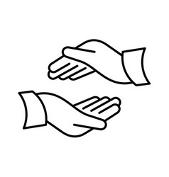Two hands icon as protect support or care symbols vector