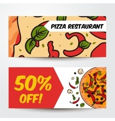 Two horizontal banners with pizza ingredients - vector