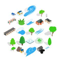 urban landscape icons set isometric style vector image