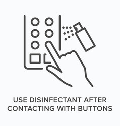 Use disifectant after contacting buttons flat line vector