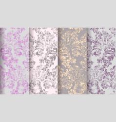 Vintage baroque victorian pattern set vector