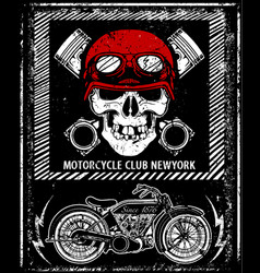 Vintage motorcycle hand drawn skull helmet tee vector