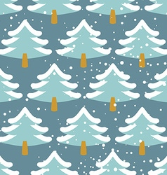 Winter forest seamless pattern Christmas tree in vector image