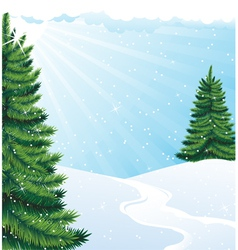 Winter solar landscape vector