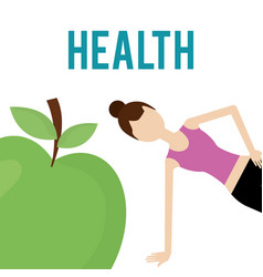 woman and fresh green apple nutrition health food vector image