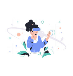 Woman in vr glasses vector