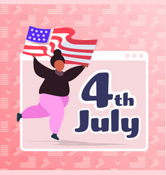 Woman with usa flag celebrating 4th july vector