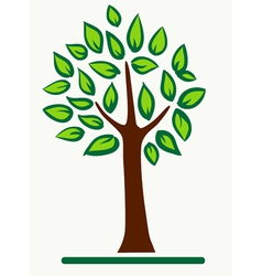 abstract tree with green leafage vector image vector image