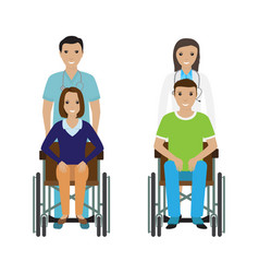 disability people in wheelchair with a hospital vector image vector image