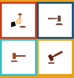 flat icon lawyer set of defense justice legal vector image vector image