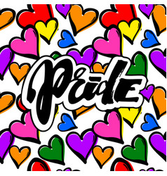 gay pride rainbow colored hearts seamless pattern vector image