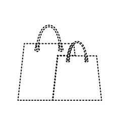 shopping bags sign black dashed icon on vector image vector image